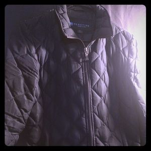 Black Quilted Feather Down Jacket